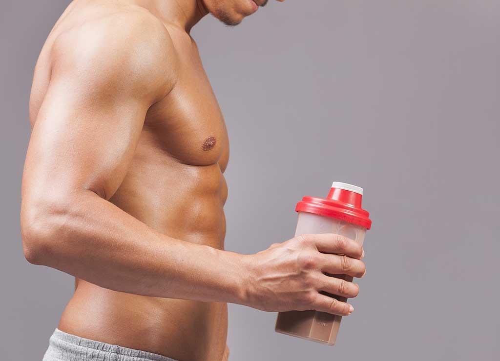 shirtless protein shake