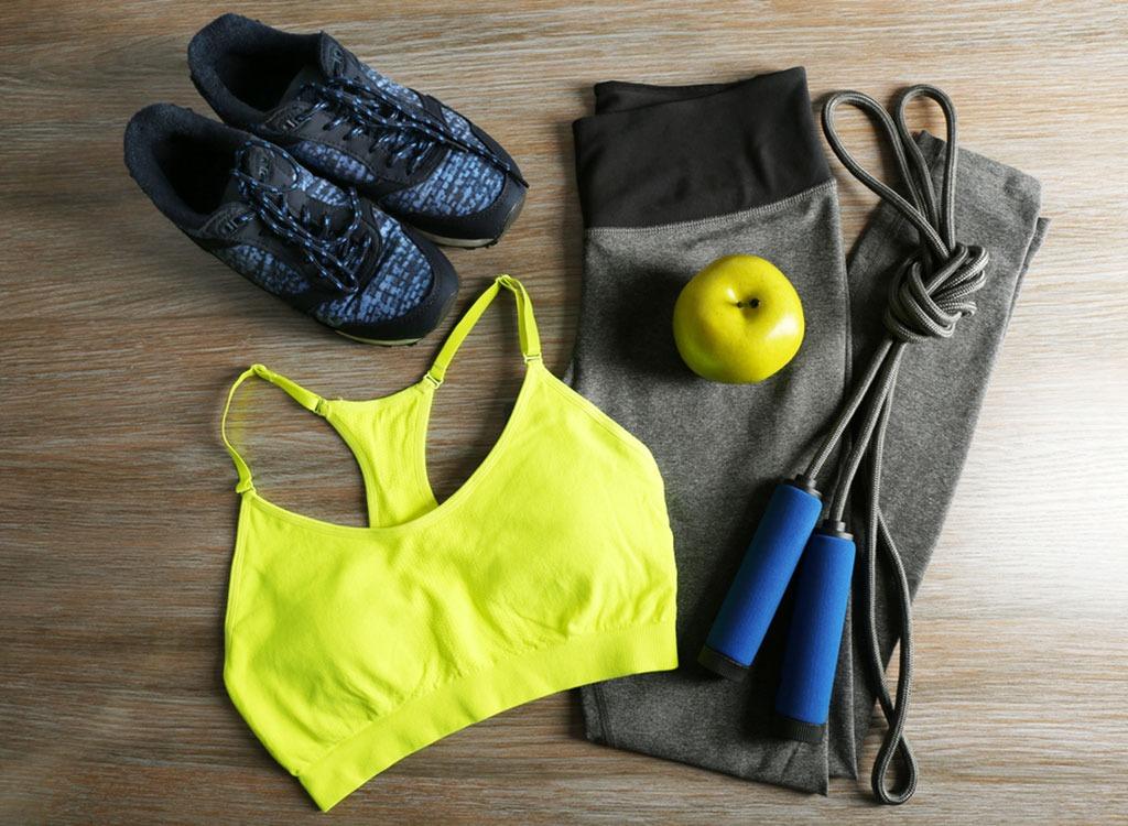 Workout clothes set out