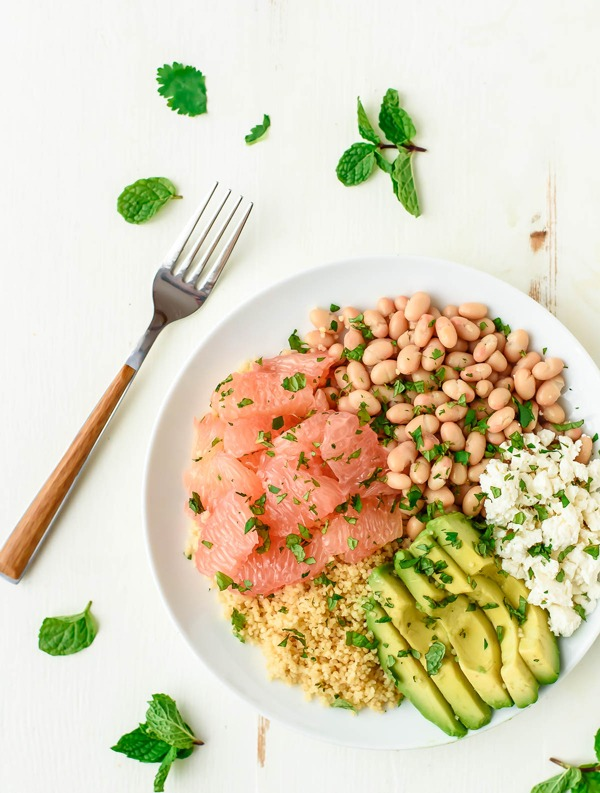 High Protein Vegetarian Meals Avocado Couscous Grapefruit Salad with Honey Lime Dressing