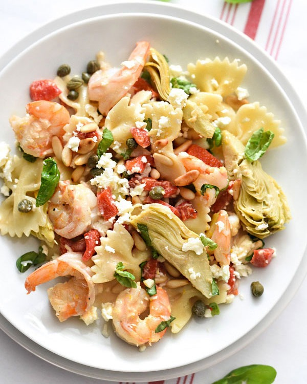 Shrimp recipes Shrimp Pasta with Roasted Red Peppers and Artichokes
