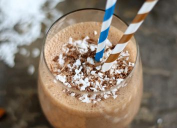 almond joy smoothie in cup