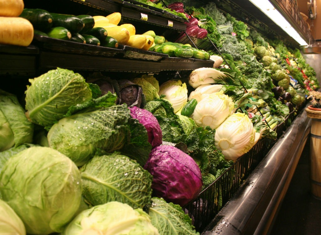 vegetable aisle at grocery store