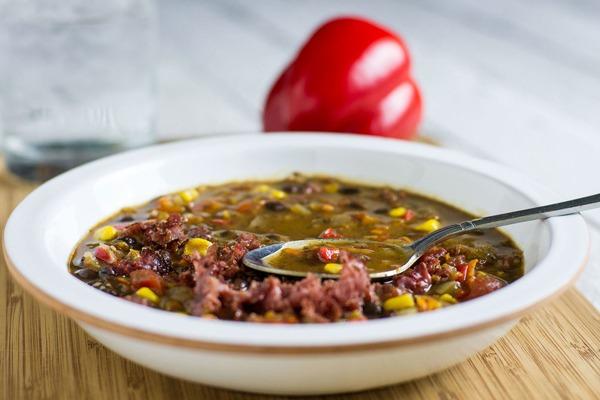 Black Bean and Pastrami Soup
