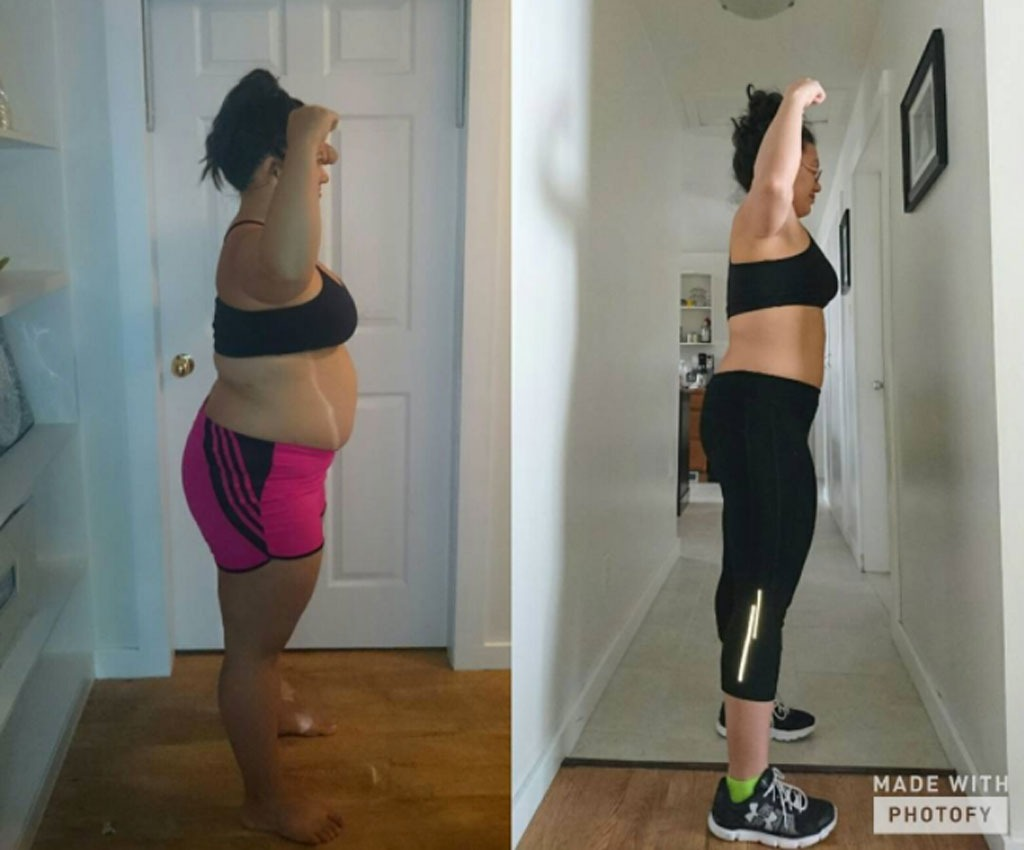 woman showing off trim waist after losing 30 pounds