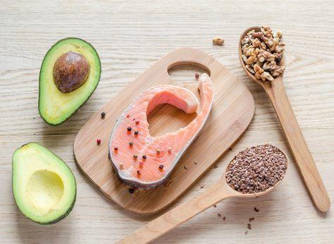Avocado salmon nuts and chia seeds