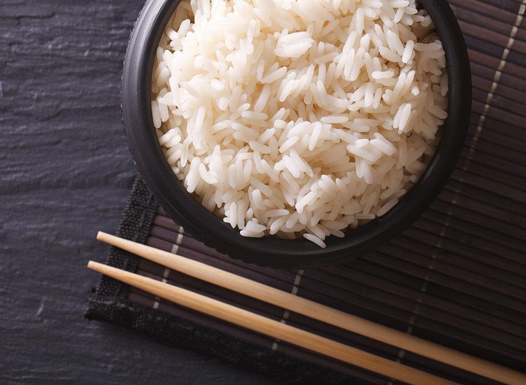 White rice and chopsticks