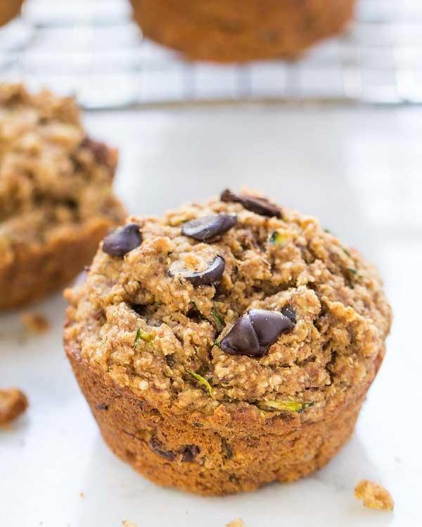 chocolate chip zucchini quinoa muffins