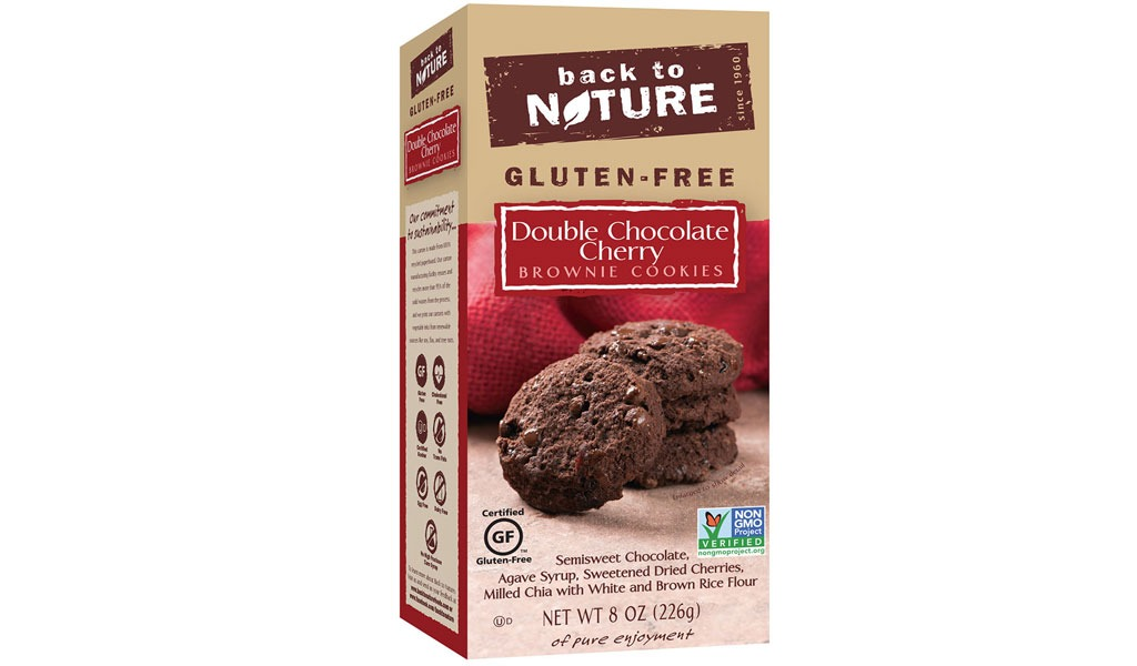 back to nature gf double chocolate cherry brownie cookies