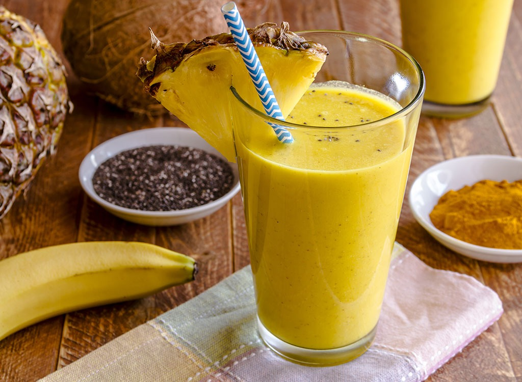 Tropical chia smoothie - healthy breakfast for weight loss