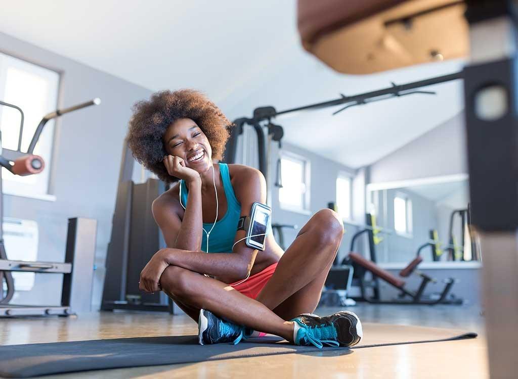 happy woman at gym