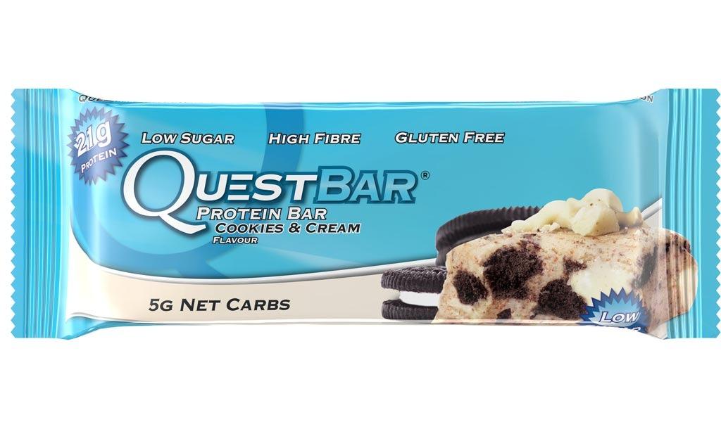 quest bar protein bar, cookies & cream