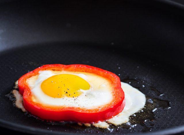 Egg in red bell pepper