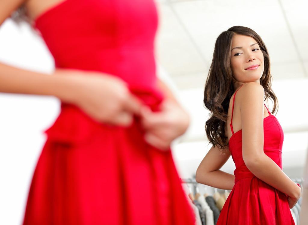 woman red dress