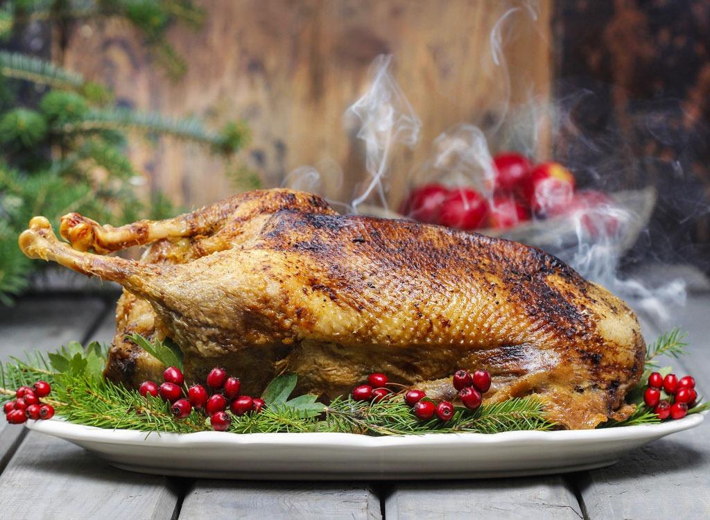 christmas goose on serving platter