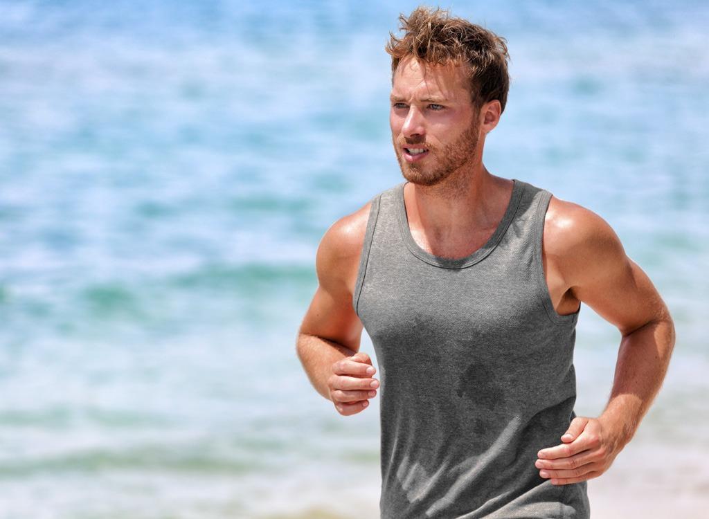 Man running and sweating