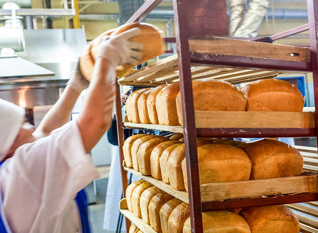 white bread loaves in bakery
