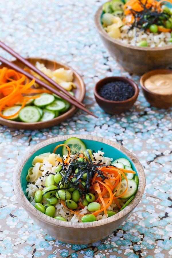 Bowl roundup veggie sushi bowl