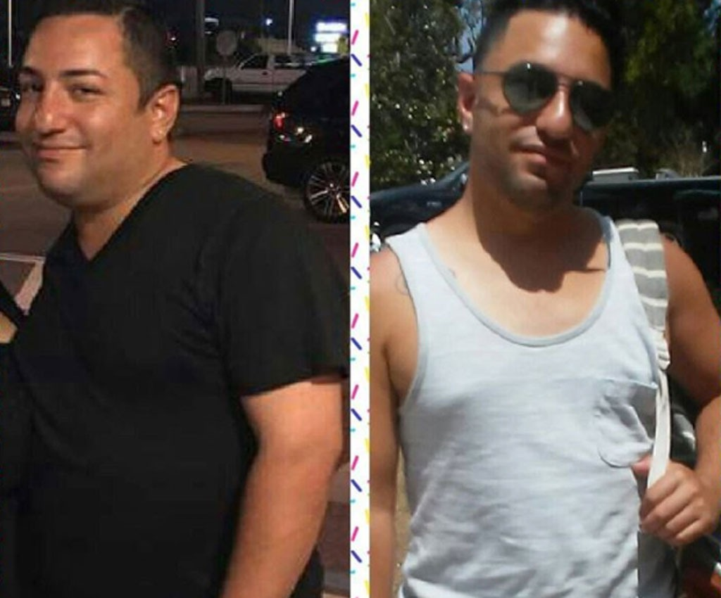 man showing off 30 pound weight loss