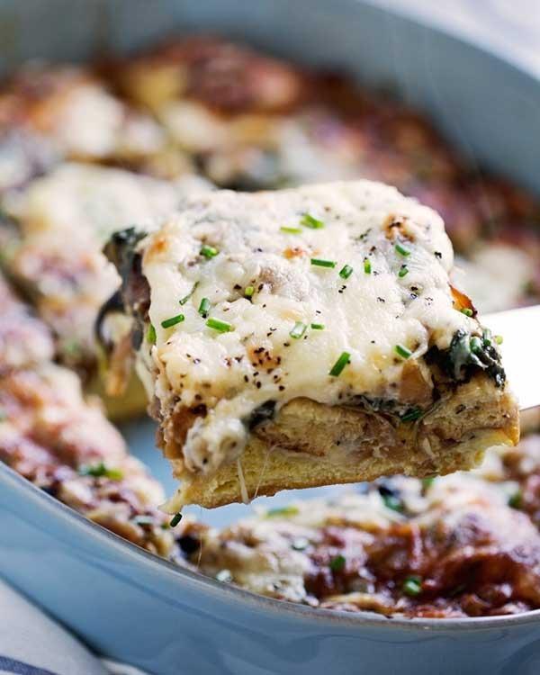 caramelized onion spinach feta savory french toast casserole