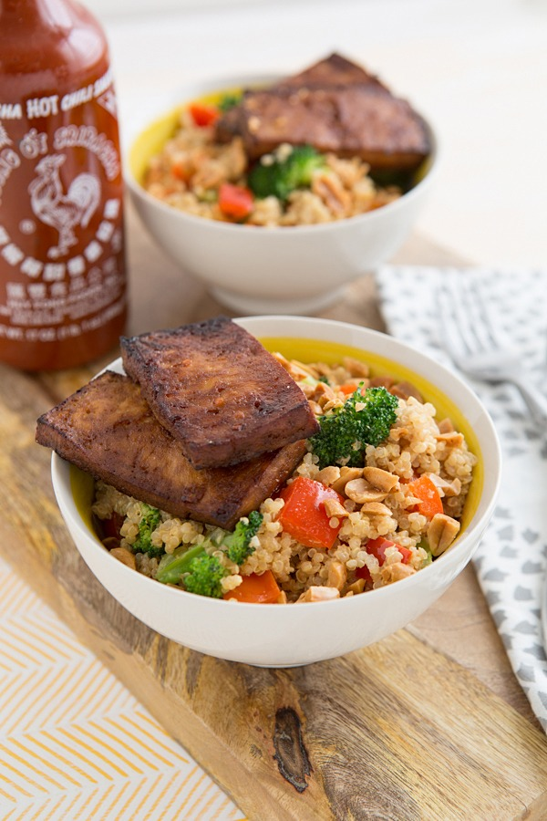 High Protein Vegetarian Meals Peanutty Quinoa Bowls with Baked Tofu