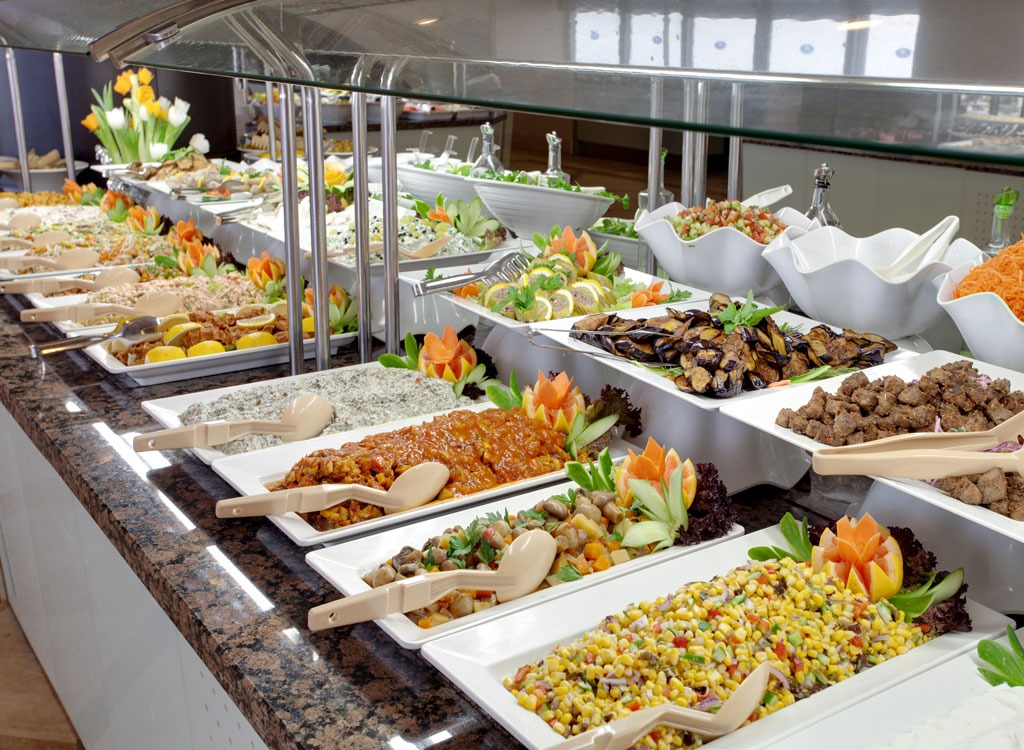 salad bar stations of food