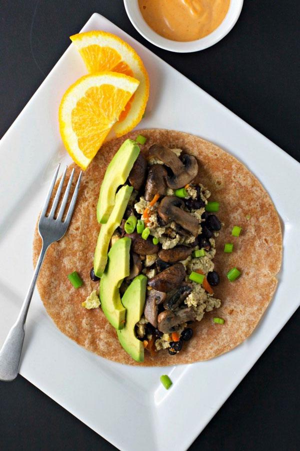 mushroom & avocado breakfast burrito