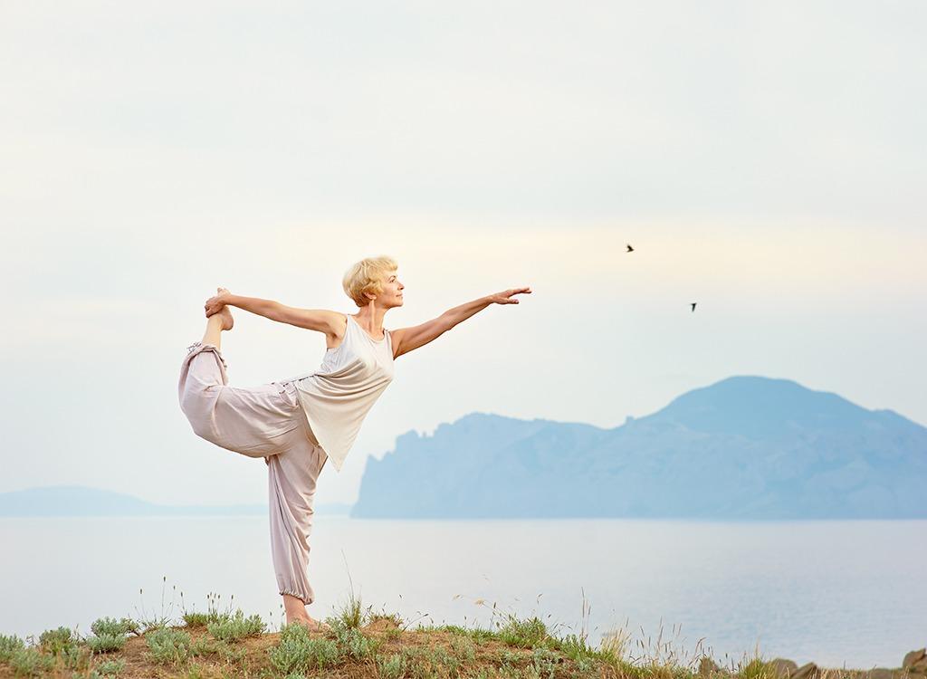 Older woman yoga