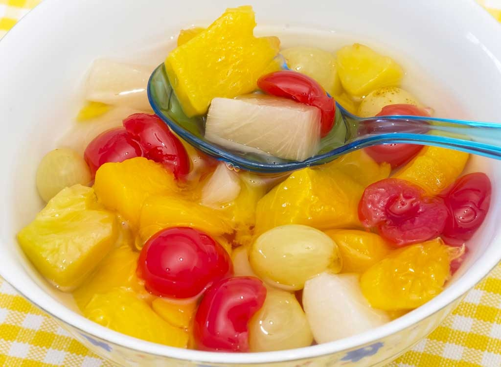 Canned fruit cocktail in bowl