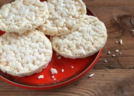 Rice cakes on red plate