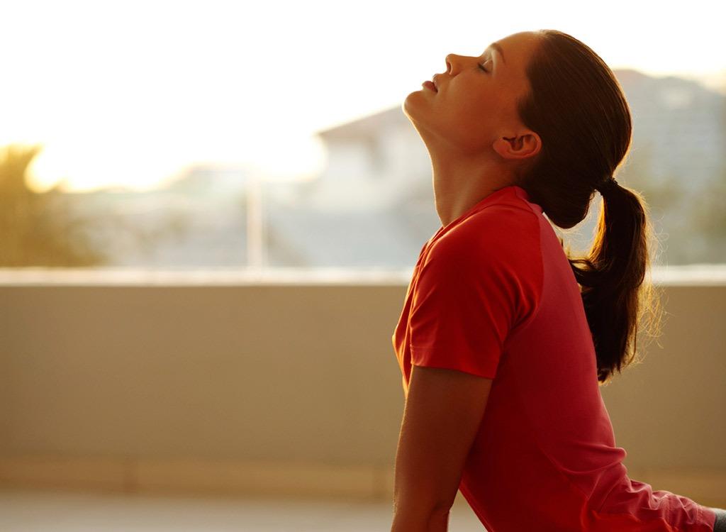 Woman doing morning yoga