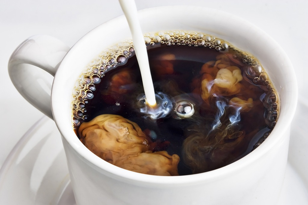 Black coffee with cream - healthy breakfast for weight loss
