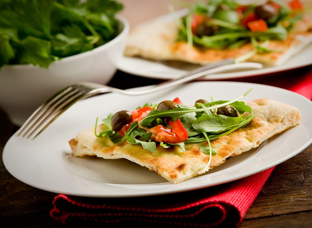 pizza with side salad