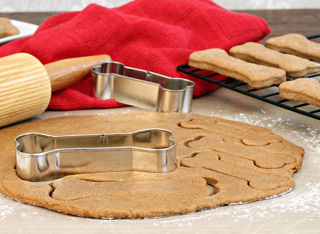 pumpkin dog treat dough with cookie cutter