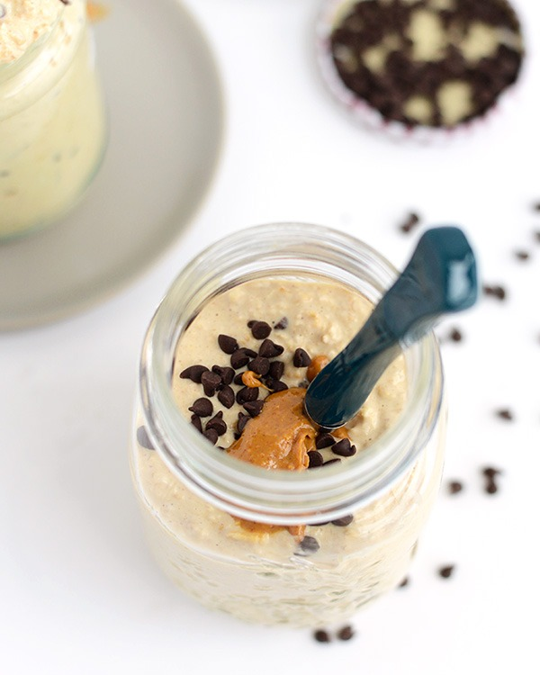 peanut butter chocolate chip cookie dough overnight oats