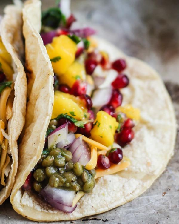 salsa verde lentil tacos with mango-pomegranate pico