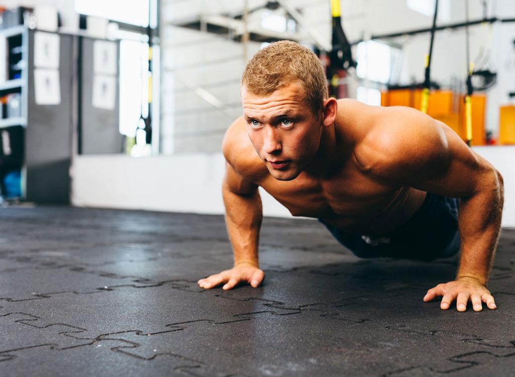 Man workout doing pushups