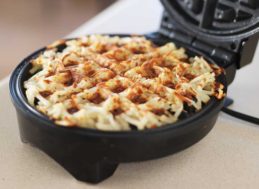 hash brown in waffle iron