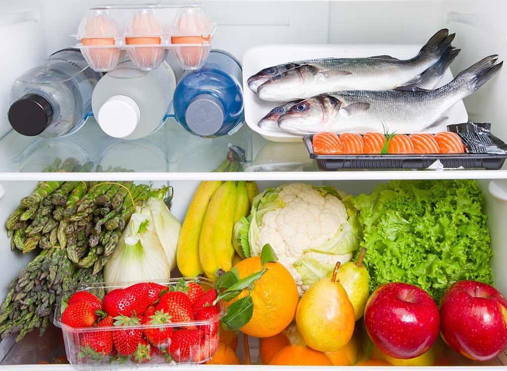 organized fridge colorful