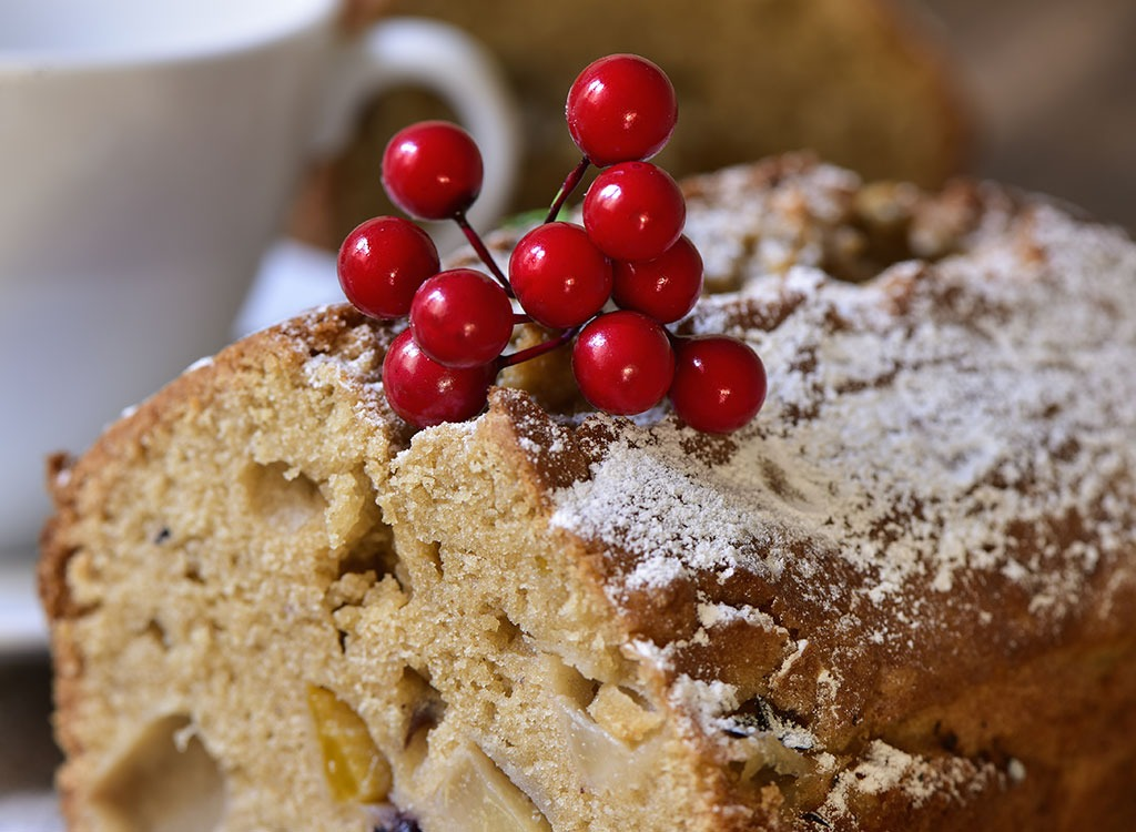 fruitcake topped with holly berries