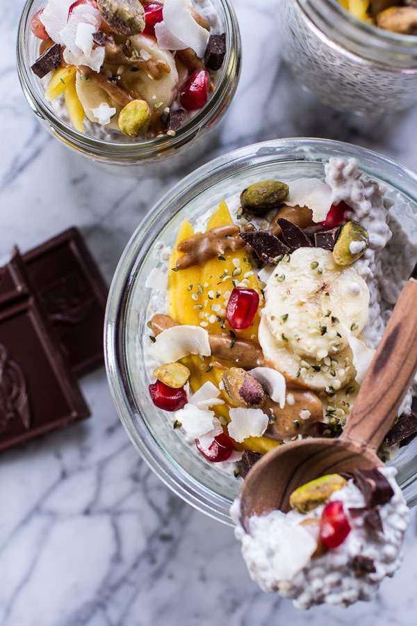 Coconut Almond Cream Chia Pudding with Superfoods and Dark Chocolate