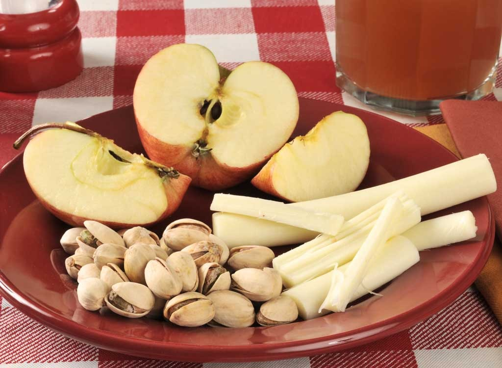 String cheese apple nuts - foods for energy
