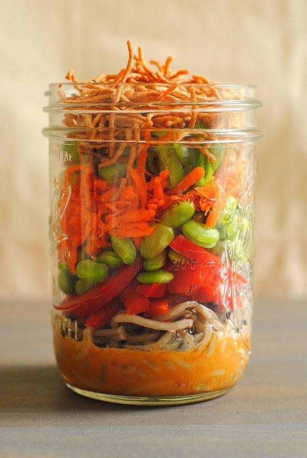 Desk lunch recipes asian noodle salad jar