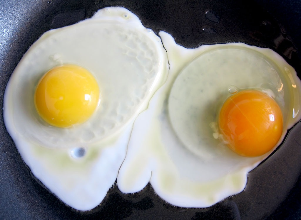 two cracked eggs