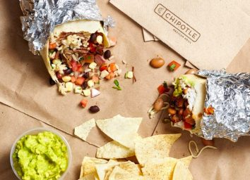 Chipotle burrito and chips