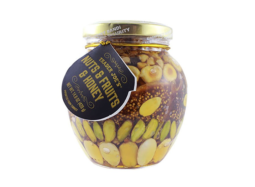 jar of trader joes nuts fruits honey