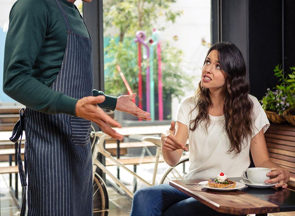 Waiter and customer