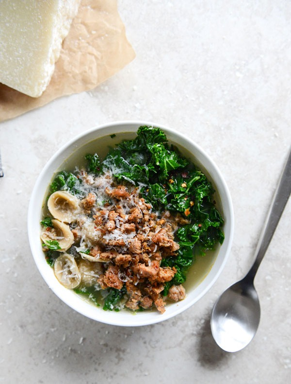 Spicy sausage kale and whole wheat orecchiette soup