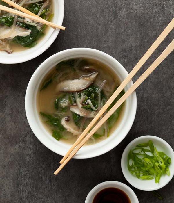 Spinach Eggplant Noodle Miso Soup