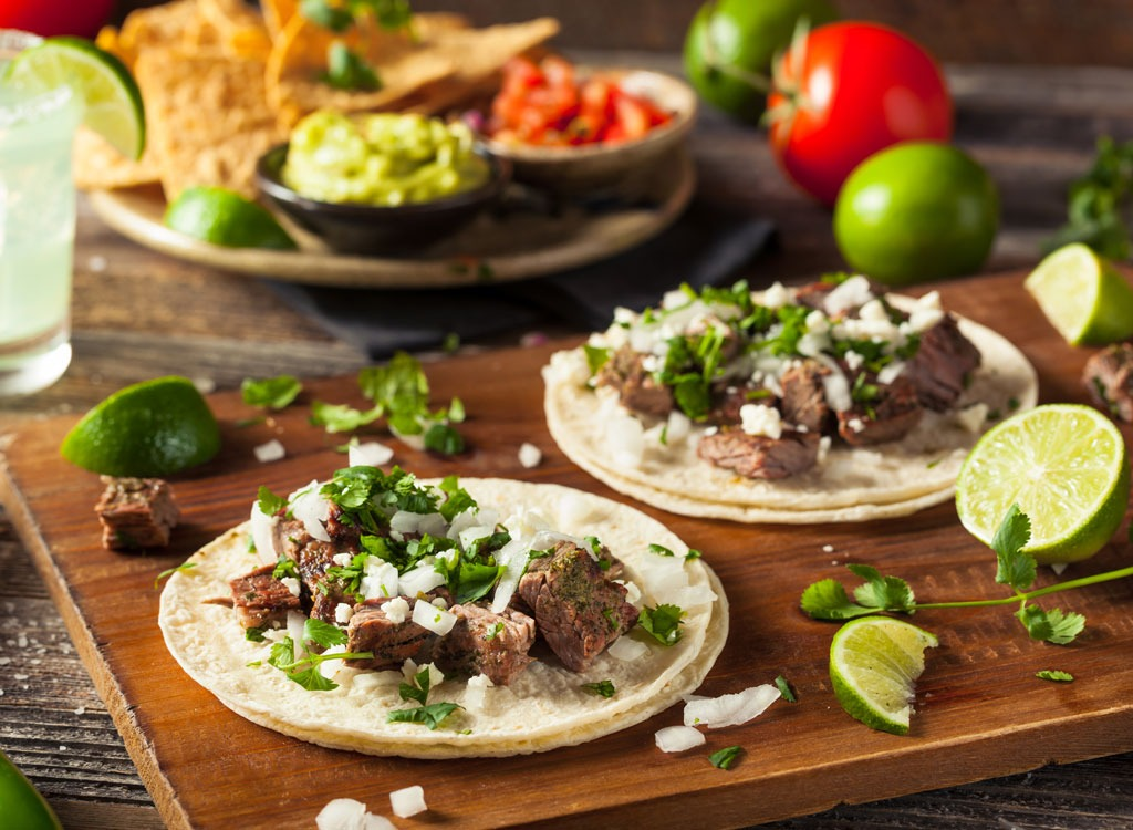 tacos with steak and cilantro