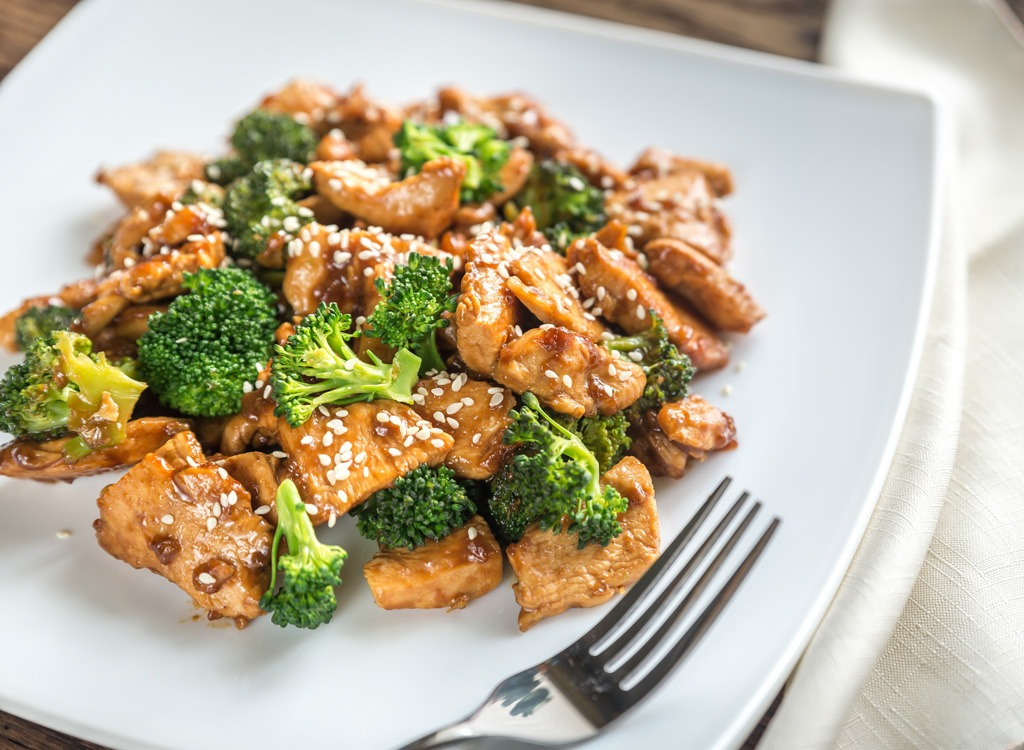 chicken and broccoli on white plate